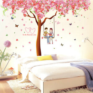 wandtattoo wandsticker m dchen kinderzimmer schaukel rosa baum herz liebe xl ebay. Black Bedroom Furniture Sets. Home Design Ideas