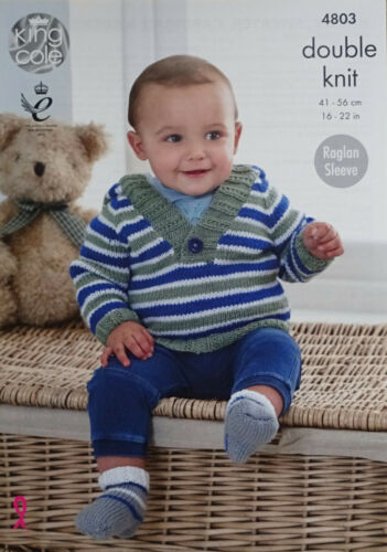 KNITTING PATTERN Baby Striped Hooded Jumper Cardigan /& Socks King Cole DK 4803
