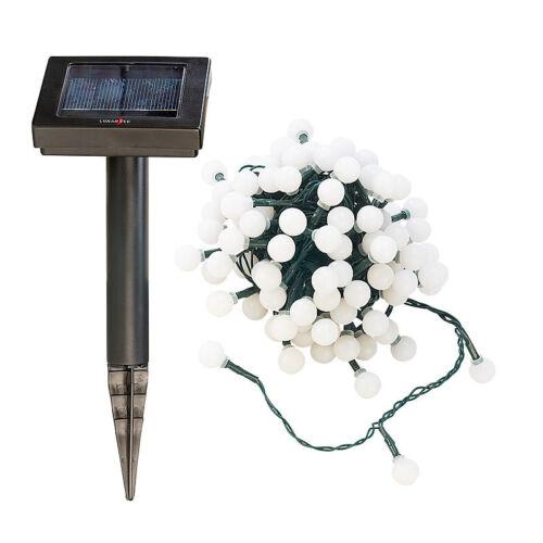 10 m Solar-LED-Lichterkette mit 102 weißen LEDs IP44 Lichterkette ohne Strom