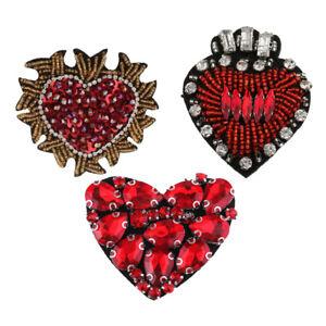 3pcs perles cristal cœur badge Appliques Patch Sew On Patch À faire soi-même Accessoires