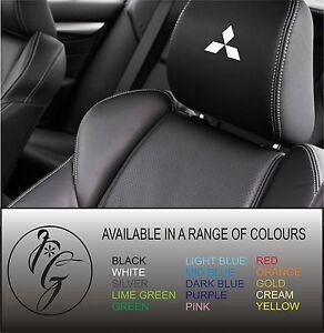 5-Mitsubishi-car-seat-head-rest-decal-sticker-vinyl-graphic-logo-badge-free-post