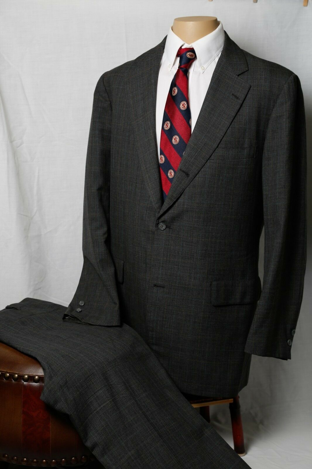 Brooks Brothers Bespoke Half Lined Charcoal Plaid 100% Wool Three Button Suit 43