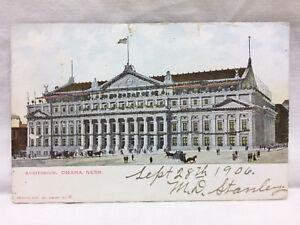 Vintage-Postcard-Auditorium-Omaha-Nebraska-1906-Glitter-Scrapbook