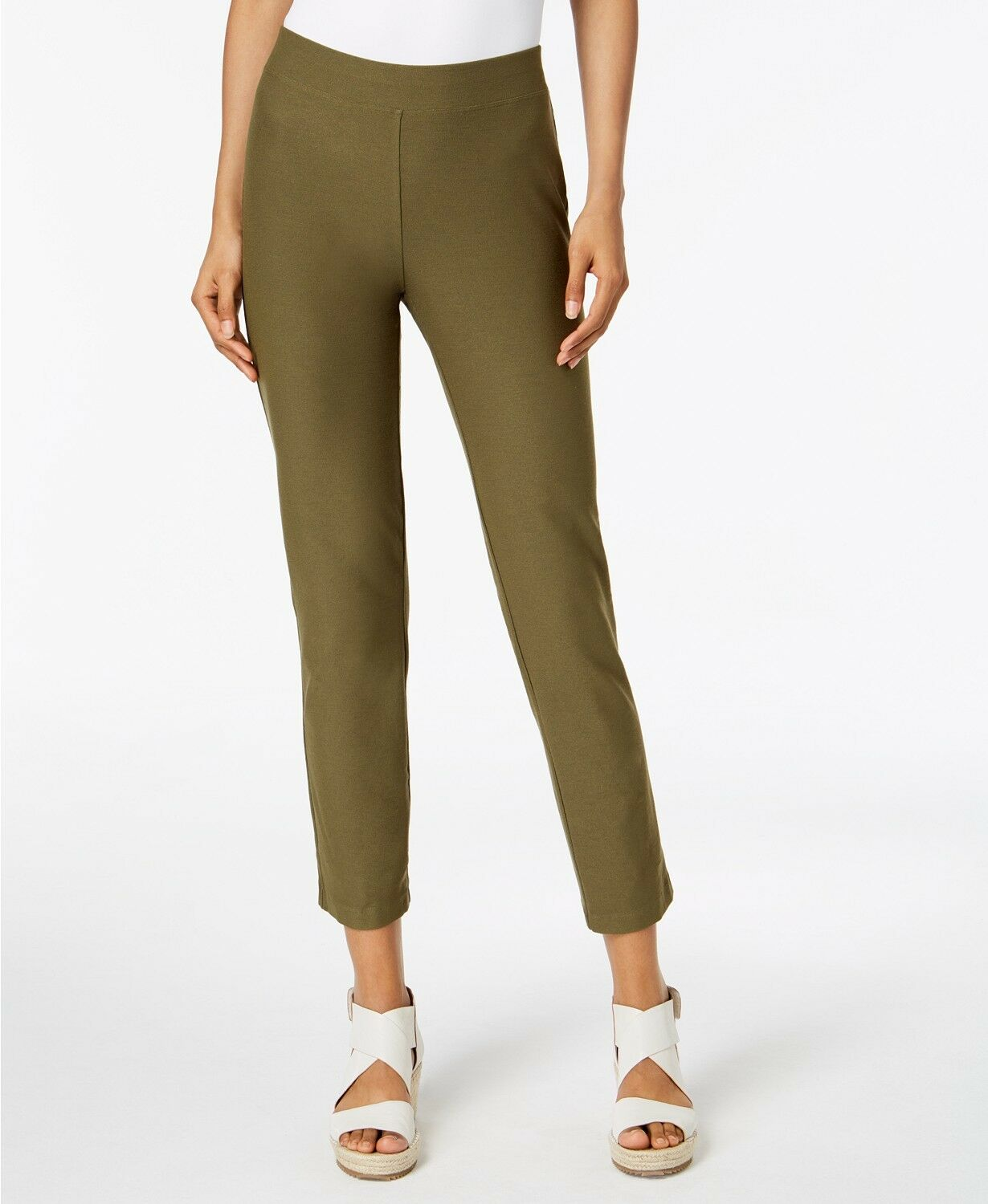 Eileen Fisher Washable Stretch Crepe Slim Ankle Pant, PS, Olive, NWT