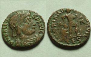 Rare original Ancient Roman coin/Emperor Valens 364 captive labarum chi-rho star