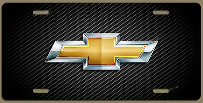 CHEVY LOGO CARBON FIBER ILLUSION ALUMINUM LICENSE PLATE Made in USA