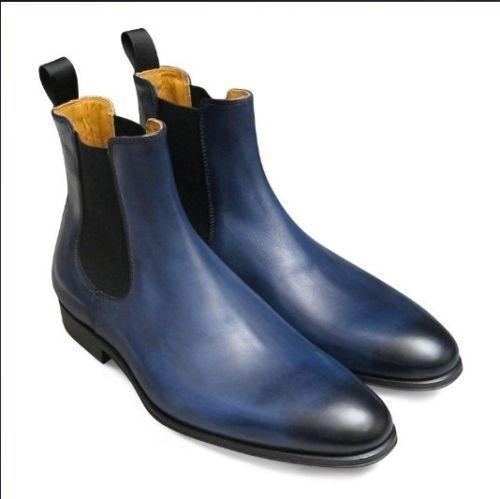 MEN HANDMADE HIGH GENUINE LEATHER Schuhe Blau ANKLE HIGH HANDMADE CHELSEA CASUAL Stiefel 3187c2