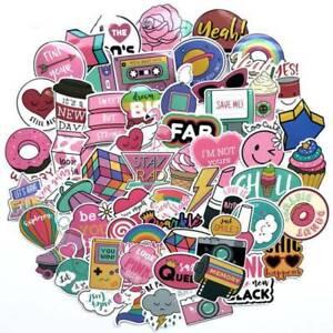 60pcs-Anime-Cute-Pink-Stickers-Decals-Skateboard-Car-Luggage-Laptop-Vinyls-Set