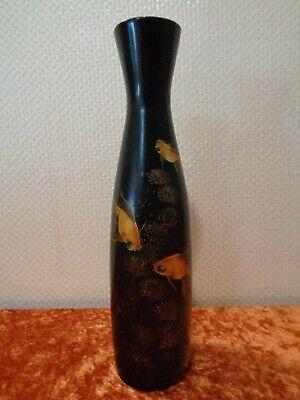 Clever Große Lackvase / Vase Mit Lackmalerei - Vietnam - Goldfisch Koi Fisch - 35 Cm