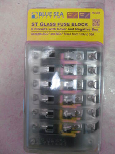 BLUE SEA SYSTEMS FUSE BLOCK AGC 6 CIR W//GROUN  661-5015 5015