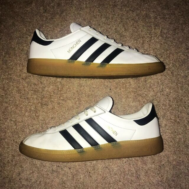 Adidas Munchen White Black & Gum Casual Trainers Mens Size UK 6 - RARE