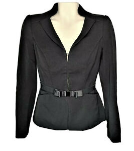 White-House-Black-Market-Womens-Size-0-Black-Career-Blazer-Suit-Top-Bow-Belt