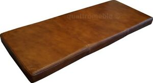 Glossy Brown Real Genuine Leather Bench Seat Cushions