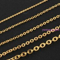 """16""""-40"""" 10pcs/Lot Fashion 2/2.4/3.2mm Gold Stainless Steel Cross Chain Necklace"""