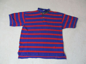 VINTAGE-Tommy-Hilfiger-Polo-Shirt-Adult-Extra-Large-Blue-Red-Striped-Crest-90s
