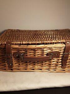 Rattan Wicker Picnic Travel Basket Set or Suitcase, Storage Prop Kitchen Decor