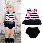 Toddler Baby Girls Outfits Floral Lace Tops Blouse+Short Pants Briefs Outfit Set