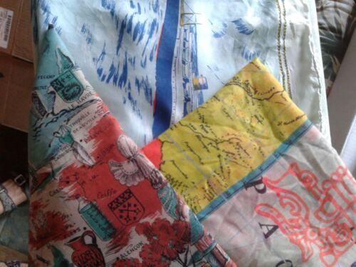 vintage 3 large scarfs maps advertise souvenir Fra