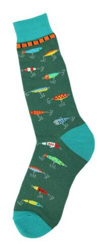 Foot Traffic Men/'s Pair Socks Green Fishing Hooks And Lures Mens Socks New