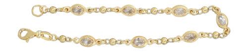 Armband Silber 925 Gelbgold vergoldet Armkette mit Zirkonias Silberarmband Gold