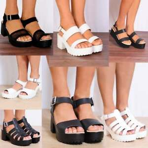 cd796c9da3fd Image is loading BLACK-WHITE-CLEATED-PLATFORMS-SUMMER-STRAPPY-BEACH-SANDALS-