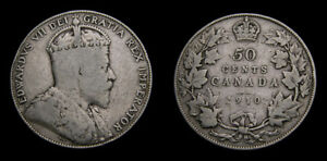 1910-Canada-Silver-50-Fifty-Cent-Piece-King-Edward-VII-VG-8