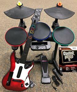 Guitar-Hero-5-Super-Bundle-BAND-SET-Kit-Drums-Mic-Guitar-Game-Nintendo-Wii-Wii-U