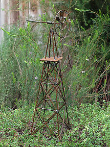 Miniature-Dollhouse-FAIRY-GARDEN-Accessories-Large-Rustic-Antiqued-Windmill