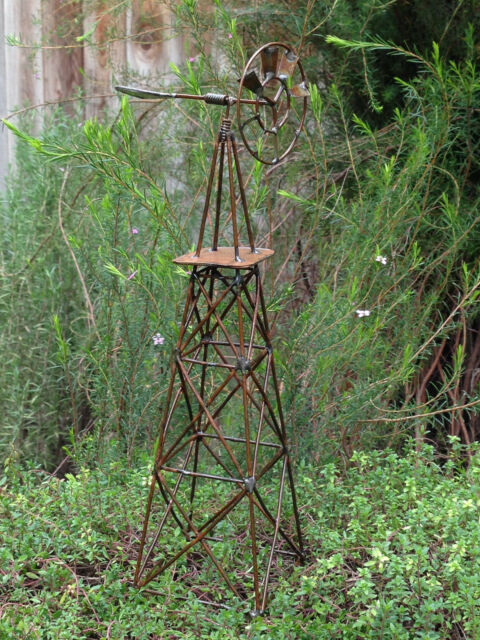 Miniature Dollhouse FAIRY GARDEN Accessories ~ Large Rustic Antiqued Windmill