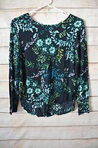 H-amp-M-Top-Size-Medium-10-12-Us-8-Black-Green-Blue-Floral-Tunic
