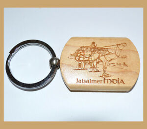 Set-of-Two-2-Teak-Wood-Engraved-Camel-Keychain-Key-Ring-Souvenir-from-India