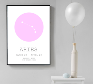 Image Is Loading Aries Zodiac Star Sign Wall Art Print Home
