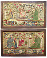 IMPORTANT 14th/15th CENTURY ECCLESIASTICAL BYZANTINE GOLD EMBROIDERY PANELS