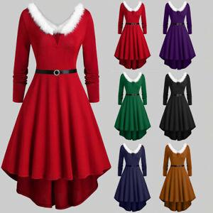 Womens-Lady-Faux-Fur-Panel-Vintage-Christmas-Party-Skater-Asymmetric-Swing-Dress