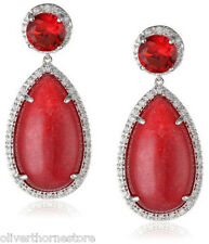 Cz By Kenneth Jay Lane Trend Ruby Red Cubic Zirconia Dangle Earrings New