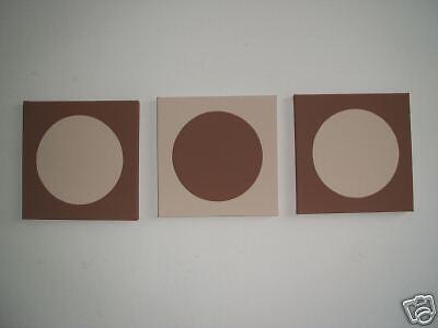 3 HAND PAINTED MODERN ART CANVAS PAINTINGS CHOCOLATE BROWN BEIGE CIRCLES 30cm
