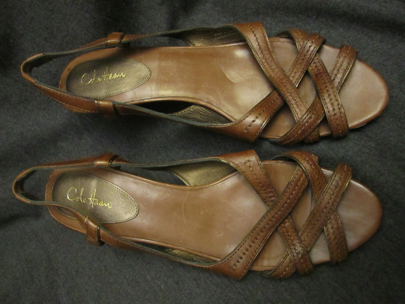 Cole Haan Brown Leather Strappy Sandals Size 10 B Wood Heels VGUC
