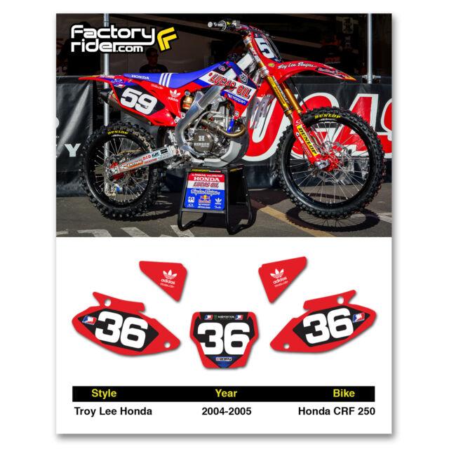 Perfect 2004   2005 HONDA CRF 250 Dirt Bike Graphics Motocross Custom Number Plates  TLD