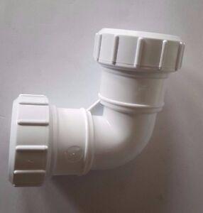 BIANCO di compressione tubo di scarico 90 Knuckle PIEGA Push Fit/Solvente  </span>