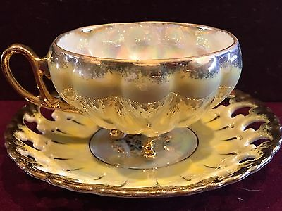 Vintage Royal Sealy Tea Cup 3 Footed Iridescent Yellow Reticulated Saucer Japan