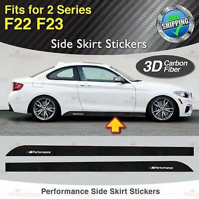 M Performance Side Skirt 3D CARBON FIBER Decal Sticker for BMW F22 F23 2 Series