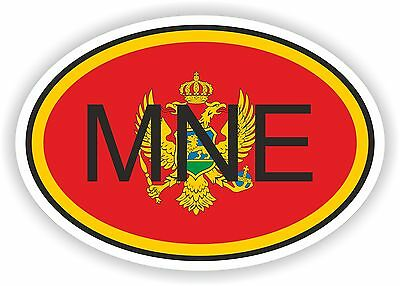 OVAL FLAG WITH MNE MONTENEGRO COUNTRY CODE STICKER CAR MOTOCYCLE AUTO TRUCK