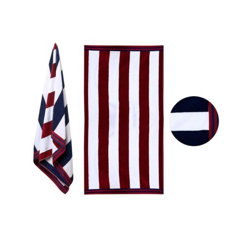 RED Navy Stripe Members Mark Cabana Oversized Towel