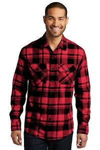 Mens-Plaid-Flannel-Shirt-2-Chest-Pockets-Checkered-Casual-Very-Soft-Cotton-blend