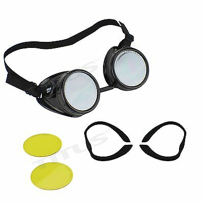 TITUS AVIATION STYLE BIKER MOTORCYCLE RIDING GOGGLES SUNGLASSES GLASSES W FOAM