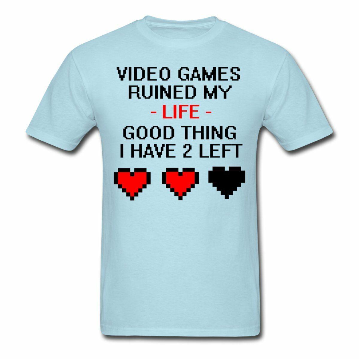 VIDEO GAMES RUINED MY LIFE FUNNY PRINTED MENS TSHIRT GAMER GEEK NERD GIFT PS4 X