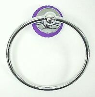 Ascot Towel Ring Bath Accessories Chrome W/ Blue Glass