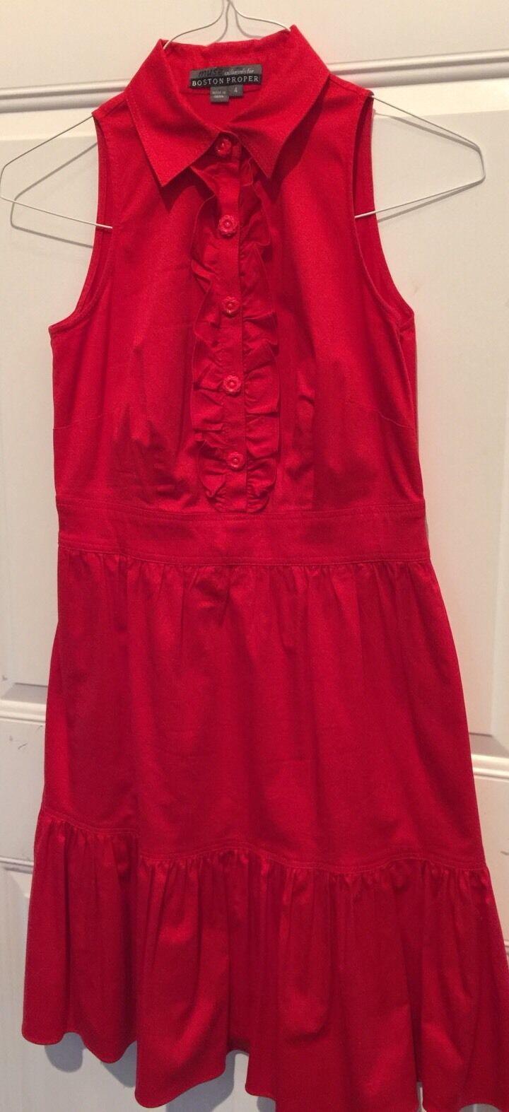 MUSE Boston Proper Red Ruffle Front Hem Summer Sundress Dress Size 4 Chest 32