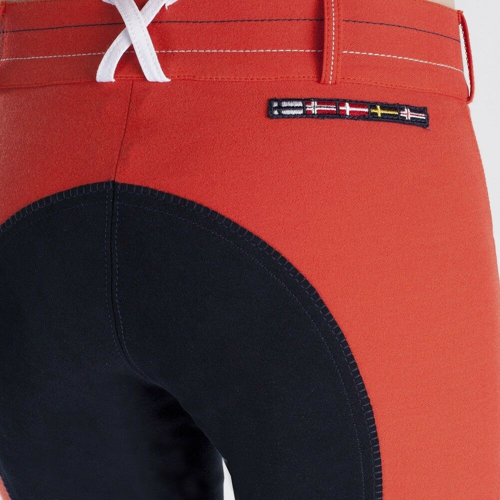 Vollbesatz Reithose zweifarbig für Damen in knalliger knalliger knalliger Farbe cbdbbd