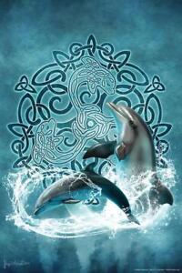 Celtic-Dolphin-by-Brigid-Ashwood-Art-Print-Poster-24x36-inch
